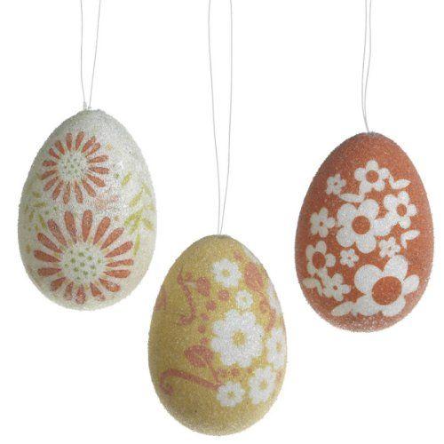 Beaded Easter Egg Ornaments Set of 3