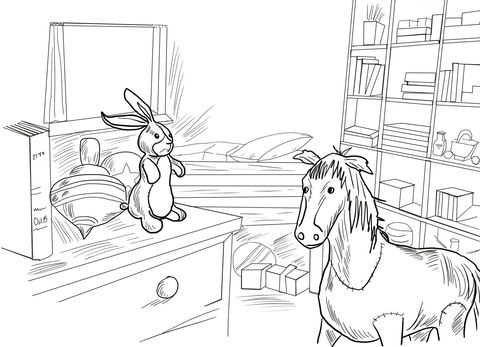Velveteen Rabbit And Skin Horse Coloring Page Horse Coloring Pages Horse Coloring Velveteen Rabbit