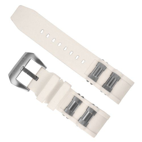 White Replacement Band with Steel Inserts for Invicta 1088 Russian Diver Skeleton Watches