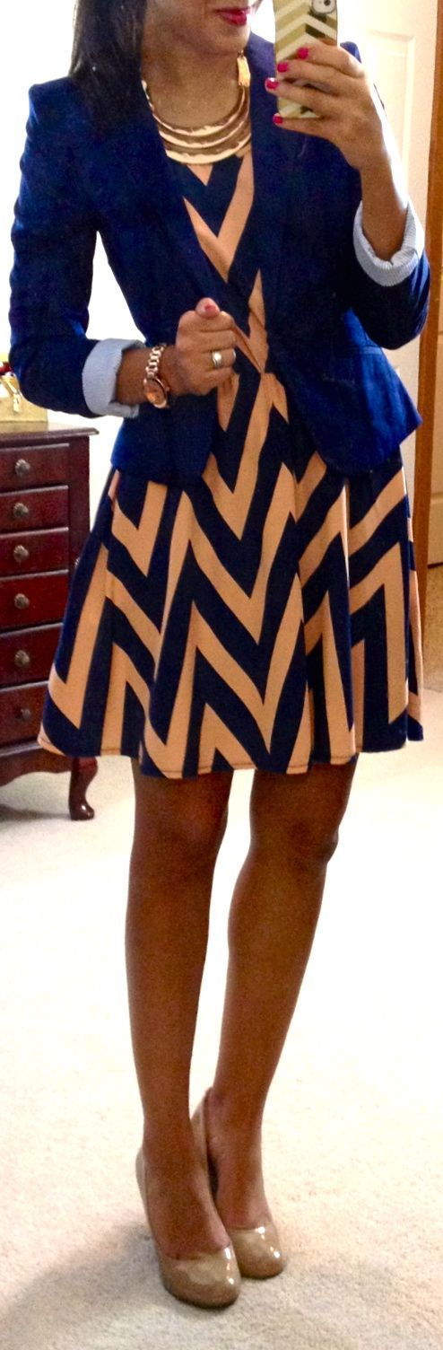 Coral and navy chevron dress and navy blazer Fashion   Hot fashion and you
