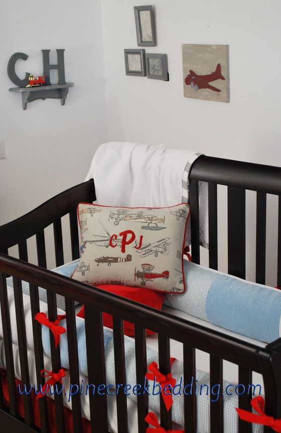 Vintage airplane crib bedding with red and blue and grey for Boy nursery fabric