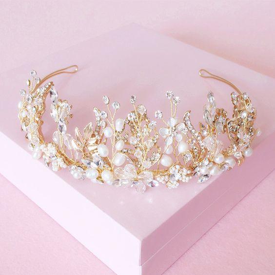 Or Rose bijoux de cheveux de mari/ée pour femme et fille Princess Tiara Headband Pageant Crown SWEETV Diad/ème de mariage en cristal pour mari/ée