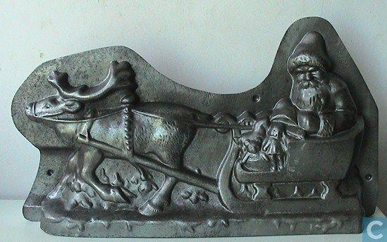 Mallen en matrijzen - Chocoladevormen - Kerstman in slee getrokken door een eland !! 49 cm