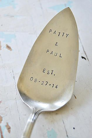 Wedding Cake Cutter : Personalized Cake Server : Gallery of Typographie Vintage Stamped Silverware and Wedding Silverware
