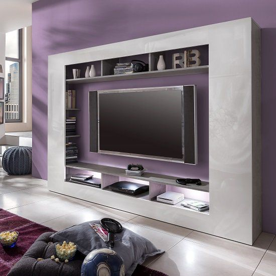Rocco Tv Entertainment Unit In White Gloss Fronts With Led With