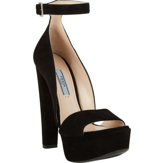 "Prada black suede ankle-strap platform sandals. 5.5"" (140mm) heel ..."