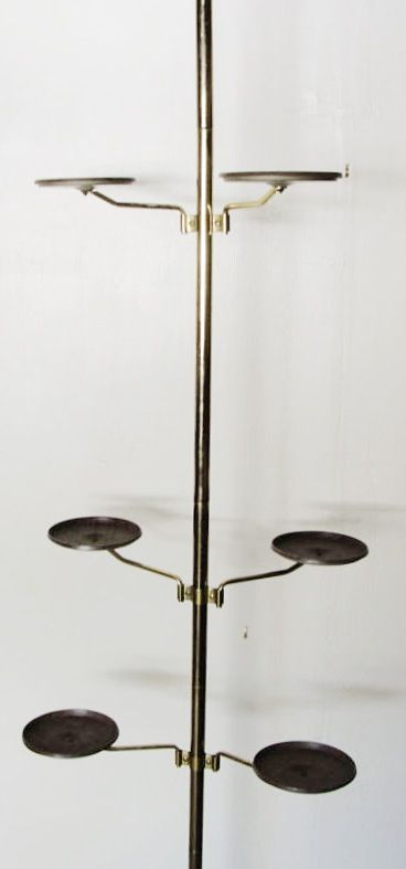 Tension pole plant stand. | Mid-Century Tension Pole Lamps