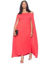Off-the-Shoulder Cape Gown, Size 14 - 28W | ElegantPlus.com Editor's Pick