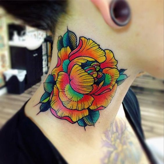 Awesome colorful flower tattoo. Wouldn't get it on the neck though.