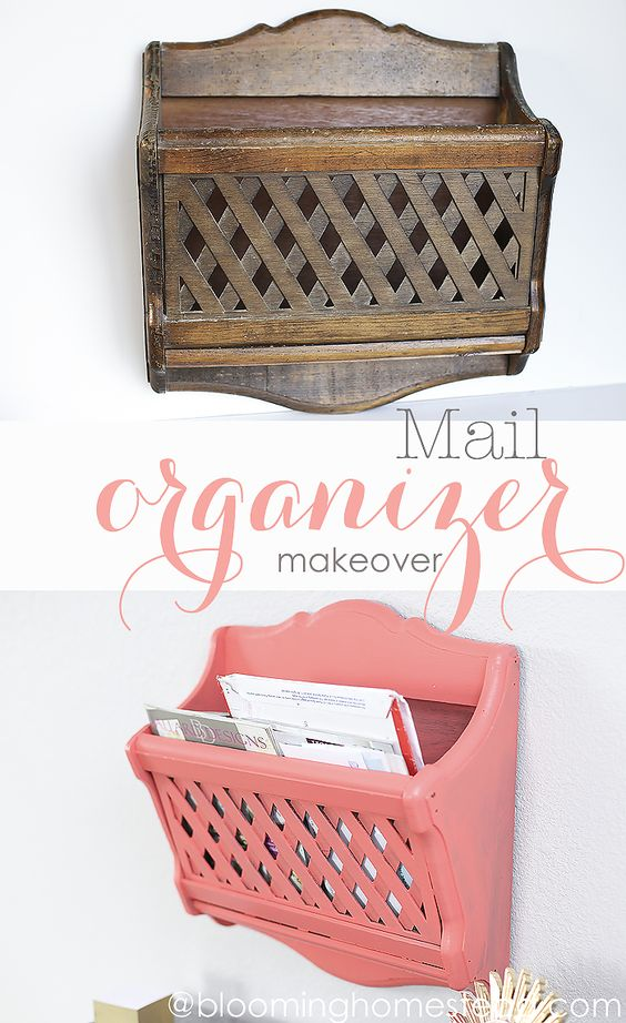 Easy Mail Organizer Makeover- Found this magazine holder at the thrift store and upcycled it into this beauty. Love the paint color.: