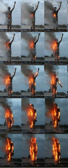 Antony Gormley - Burning sequence, Waste Man. Sculpture.  FUN FACT- Mr Patrick was on the team to build this sculpture and had to learn how to ab-sail to do so.