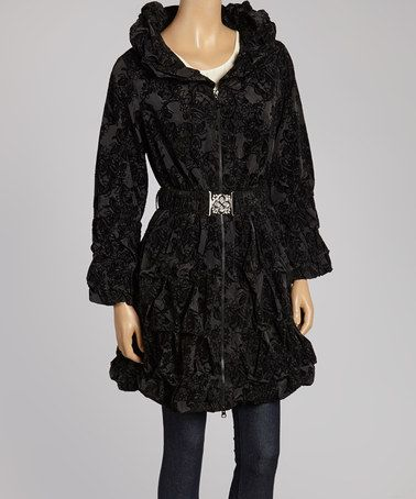 Another great find on #zulily! Black Crinkle Belted Jacket - Women & Plus #zulilyfinds