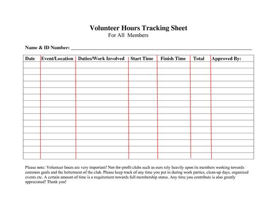 Volunteer Hours Log Sheet Template | Community Service | Pinterest ...