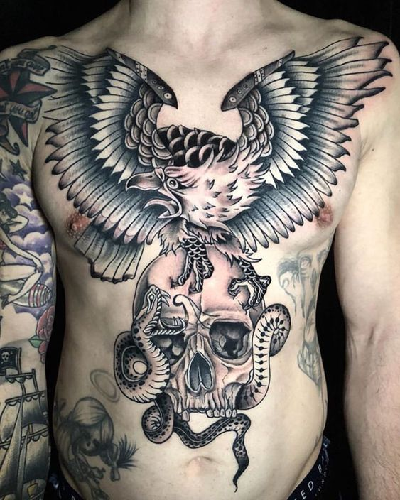 Eagle Snake And Skull Chest Tattoo Theresa Vendetta Tattoos Army Tattoos Old School Tattoo