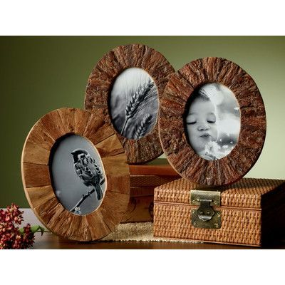 St. Croix Kindwer 3 Piece Rustic Tree Bark Wood Oval Picture Frame Set