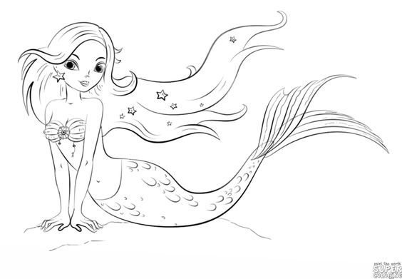 How to draw a cartoon mermaid | Step by step Drawing ...