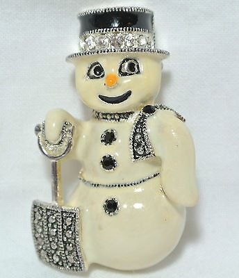 Vintage EISENBERG ICE Snowman with shovel Holiday brooch pin CHRISTMAS TIME !: