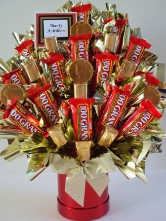 Thanks a Million Candy Bouquet. With money origami added this would be a great…: