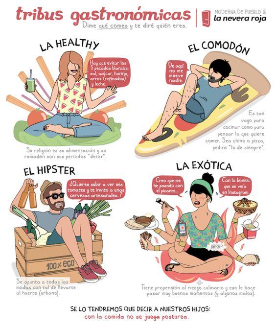 tribus gastronomicas Hipsters, healthies, comodones y exóticos