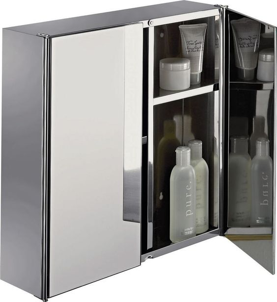 Bathroom Storage Cabinet Double Doors Mirrored Unit Stainless Steel Modern Sleek