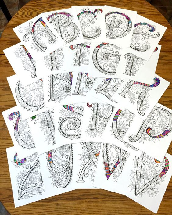 Set of (26) 8.5x11 PDF coloring pages of uppercase alphabet letters inspired by the font Harrington  Fun for all ages.  Relieve stress, or just relax and have fun using your favorite colored pencils, pens, watercolors, paint, pastels, or crayons.  Print on card-stock paper or other thick paper (recommended).  Original art by Devyn Brewer (DJPenscript).  For personal use only. Please do not reproduce or sell this item.  HOW TO DOWNLOAD YOUR DIGITAL FILES…