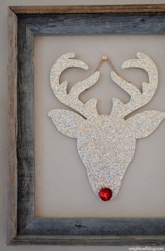 This DIY silver glitter reindeer will take center stage in your Christmas decorations