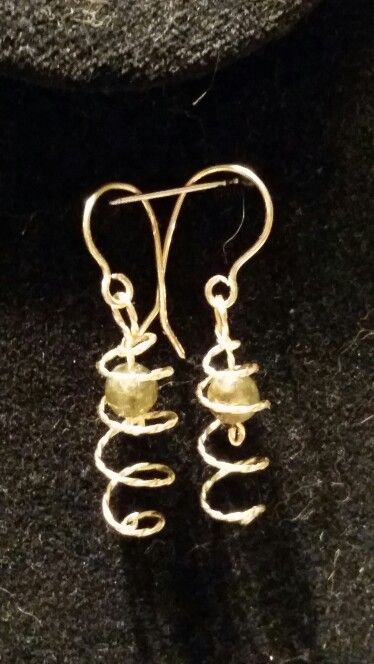 Green Garnet Earrings in Twisted Gold Filled wire. Signature spirals, $25.00, SacredCoyoteDesigns