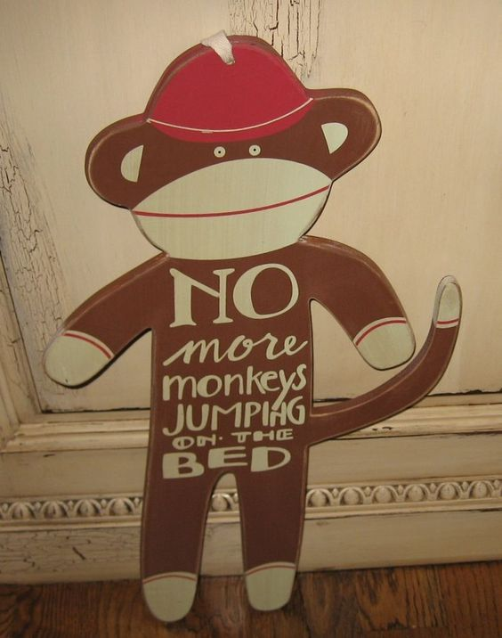 Wood SOCK MONKEY Boy/Girl Bedroom Wall Decor*No More Monkeys Jumping On The Bed! #NaivePrimitive