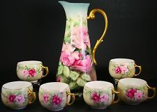 Antique Beautiful Limoges  Tankard Pitcher W /6 Cups Hand painted Artist Signet