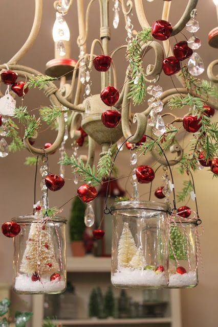 JOYWORKS-Chandelier with bottle brush trees in hanging glass votives