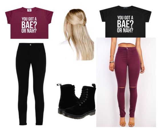 """""""you got a bae or nah"""" by myahjoyingram on Polyvore featuring STELLA McCARTNEY, Boohoo and Dr. Martens"""