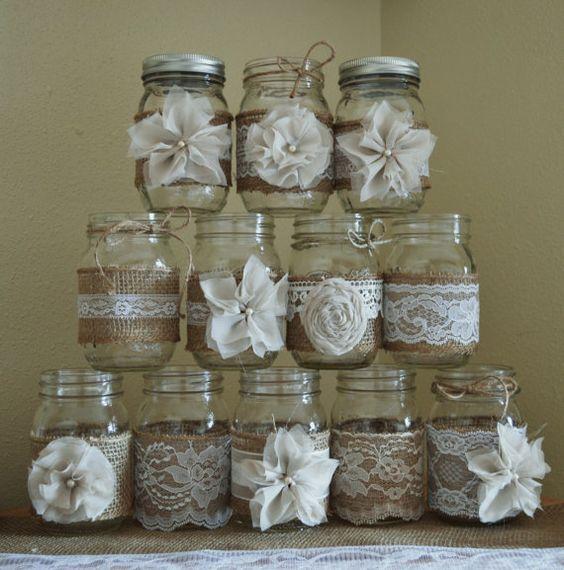 Mason Jars Rustic Wedding Decorations: Set Of 12 Mason Jar Sleeves, Rustic Burlap Wedding