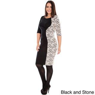 A Plus Style Women's Plus Size Lace Panel Ponte Dress