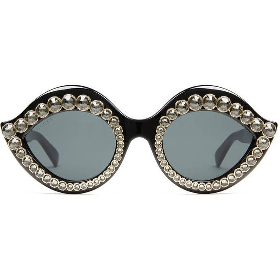 50fbf6ec275 Gucci Cat Eye Sunglasses With Crystals ( 700) ❤ liked on Polyvore featuring  accessories