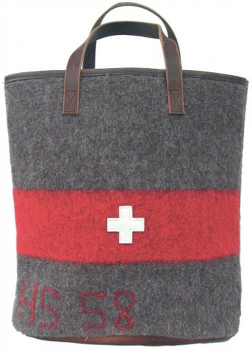Swiss army recycled blanket tote.
