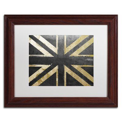 "Trademark Global 'Fashion Flag IV' by Color Bakery Framed Graphic Art Mat Color: White, Size: 16"" H x 20"" W x 0.5"" D"