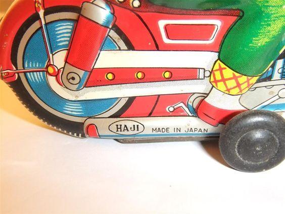 "Japanese tinplate motorcycle by Haji ""Lady"" , girl on motorcycle | eBay"