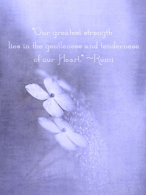 """Our greatest strength lies in the gentleness and tenderness of our Heart."" --Rumi:"