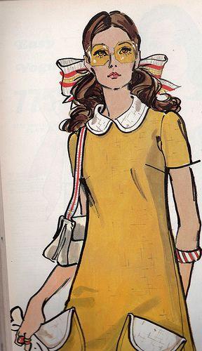 Modele Cuisine Gedimat :  couleur art de l illustration jaune mode robes vogue vintage vintage