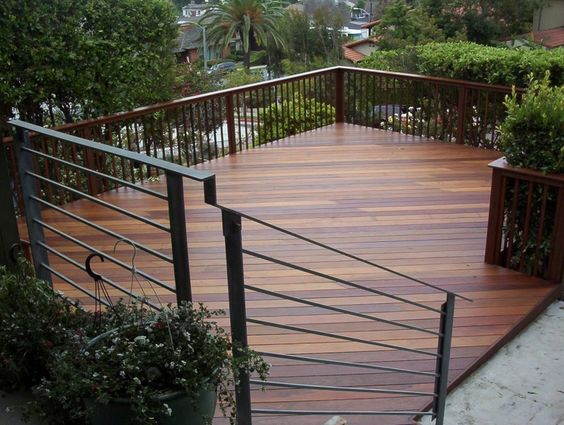 Ipe deck railing second story hillside decks for How to build a 2nd story deck