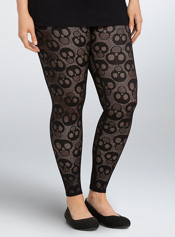 Plus Size Skull Open Stitch Leggings, DEEP BLACK | Stitch Fix ...