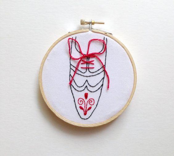 polish folk art shoe art embroidery hoop art hand by CallHerHappy