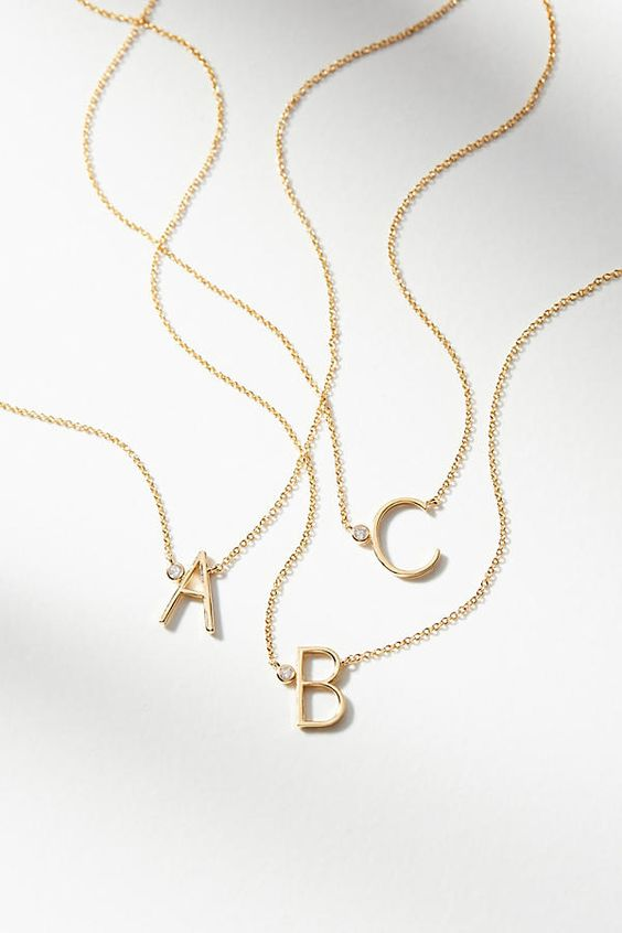 Affiliate Pin - Slide View: 1: Delicate Monogram Necklace