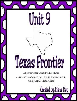 Supports 4th grade Texas History TEKS: 4.4B, 4.4C, .4.4D, 4.8A, 4.12E, 4.20A, 4.21A, 4.21B, 4.21C, 4.22B, 4.22C, 4.22E This is a great resource to use when covering the TEKS listed above regarding the Texas Frontier.