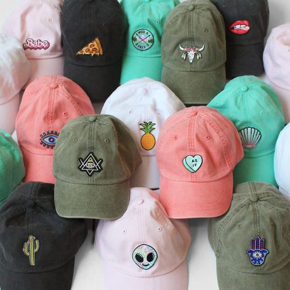 Quirky & whimsical embroidered patch baseball hats - caps. You choose the patch & hat color! Features Wildflower + Co. embroidered patches.: