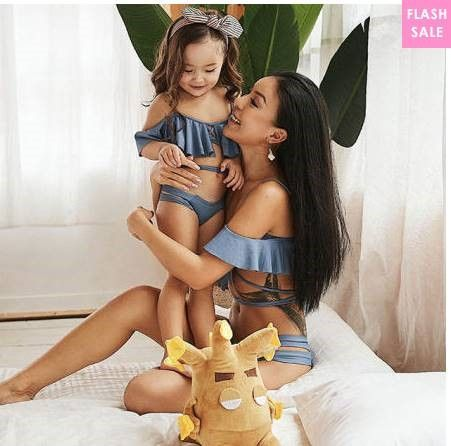 Mommy and Me Ruffle Trim Swimsuit