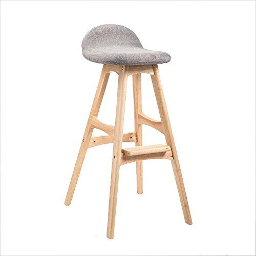 Yan Junau Bar Stool Solid Wood European Retro Cafe High Stool Breakfast Bar Stool Curved Back Gray Linen Wood Frame 64 Cm For With Images Bar Stools Breakfast Bar Stools