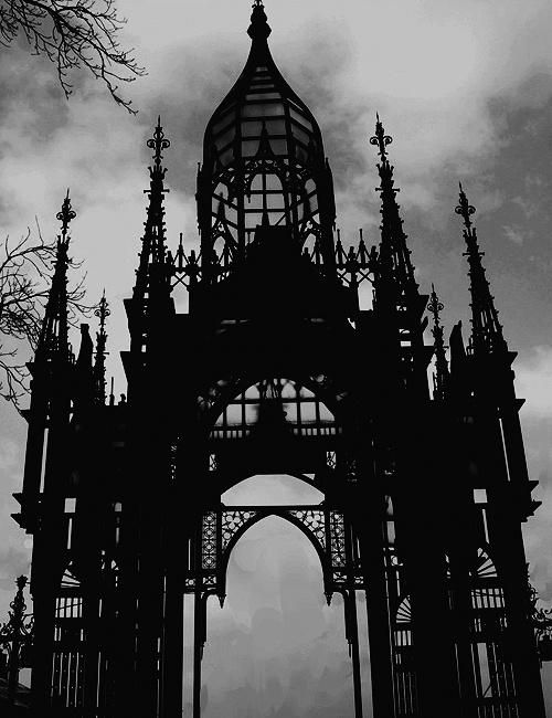 Gate Entry, Szewna, Poland. Black and White. Gothic.