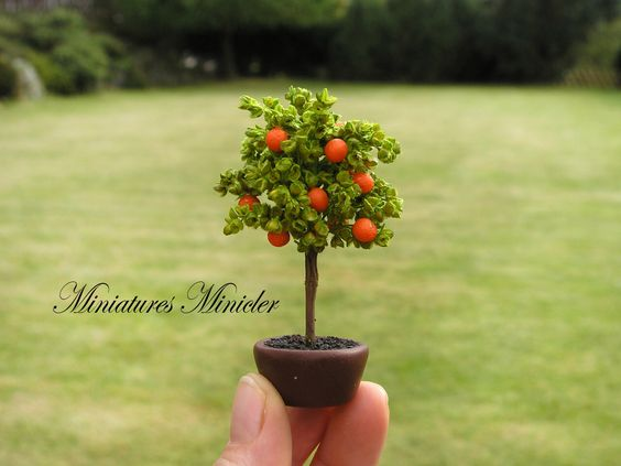 Miniature Dollhouse Orange Tree In The Pot by Minicler on Etsy https://www.etsy.com/listing/485069923/miniature-dollhouse-orange-tree-in-the