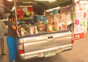 Talk about fast food.  This pickup truck is a coffee stop.